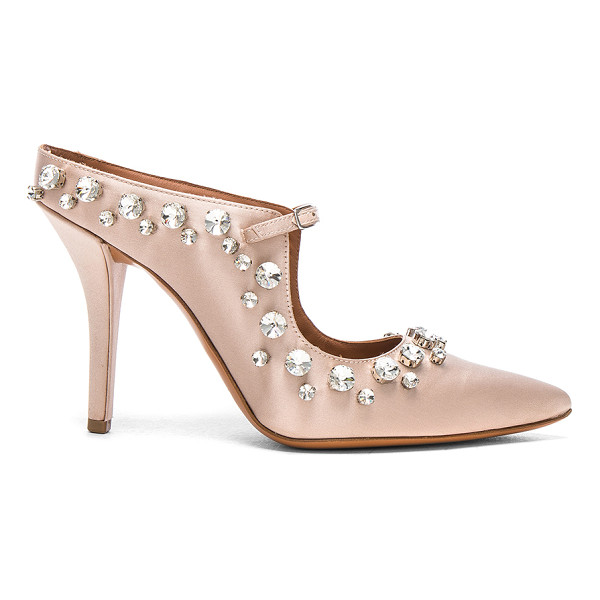 GIVENCHY Feminine Satin Crystal Mule - Satin upper with leather sole. Made in Italy. Approx 100mm/...