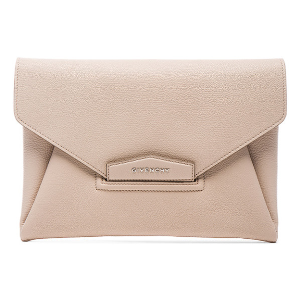 GIVENCHY Medium Antigona Envelope Clutch - Goatskin leather with canvas lining.  Made in Italy. ...