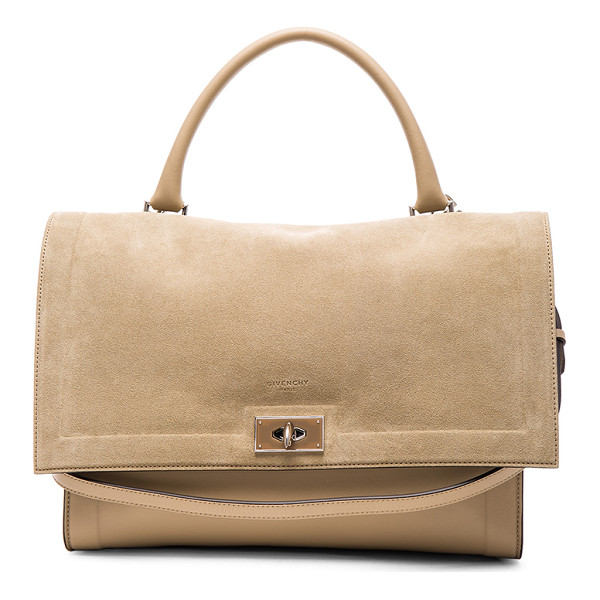 GIVENCHY Medium suede & leather shark bag - Calfskin leather and suede with suede lining and...