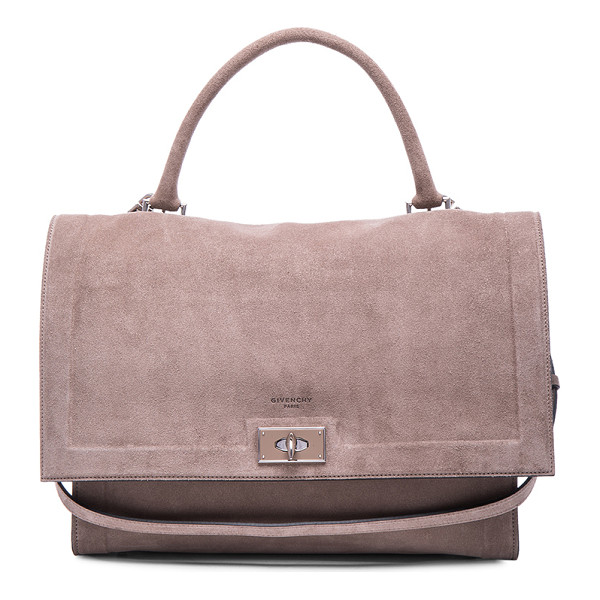 GIVENCHY Medium suede shark bag - Calfskin suede with suede lining and silver-tone hardware. ...