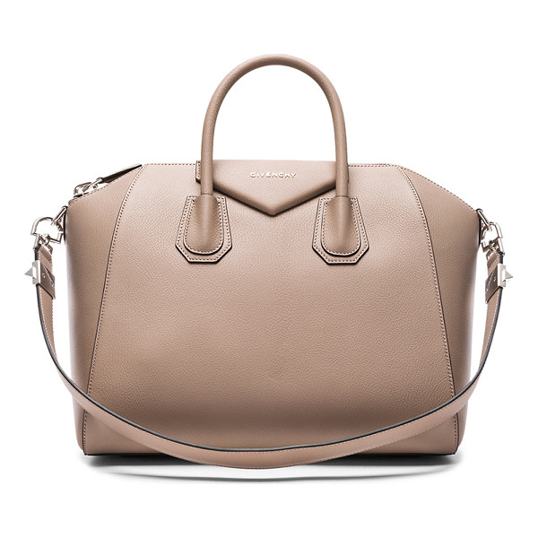 GIVENCHY Medium Sugar Antigona - Calfskin leather with canvas fabric lining and silver-tone