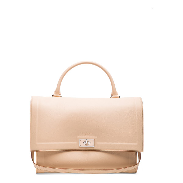GIVENCHY Medium waxy leather & plexi shark - Calfskin leather with suede lining and silver-tone...