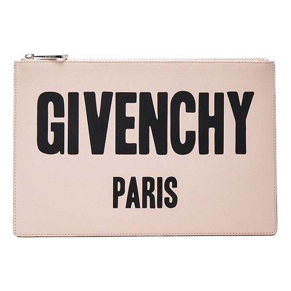GIVENCHY Paris Printed Medium Pouch - Calfskin leather with canvas lining and silver-tone