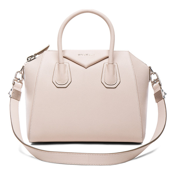 GIVENCHY Small Antigona - Goatskin leather with canvas lining and silver-tone