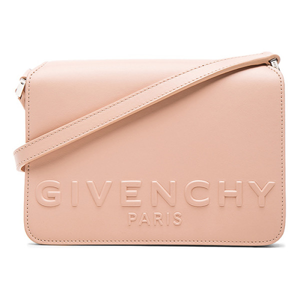 GIVENCHY Small Logo Bag - Calfskin leather with suede lining and silver-tone...
