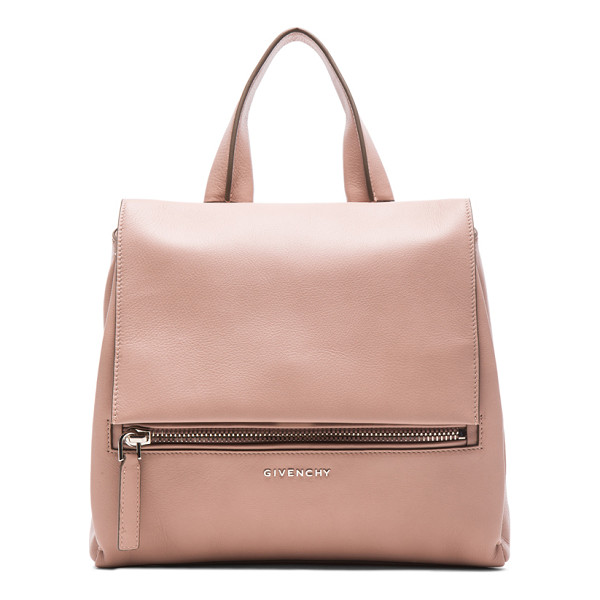 GIVENCHY Small pandora pure flap bag - Calfskin leather with canvas lining and silver-tone...