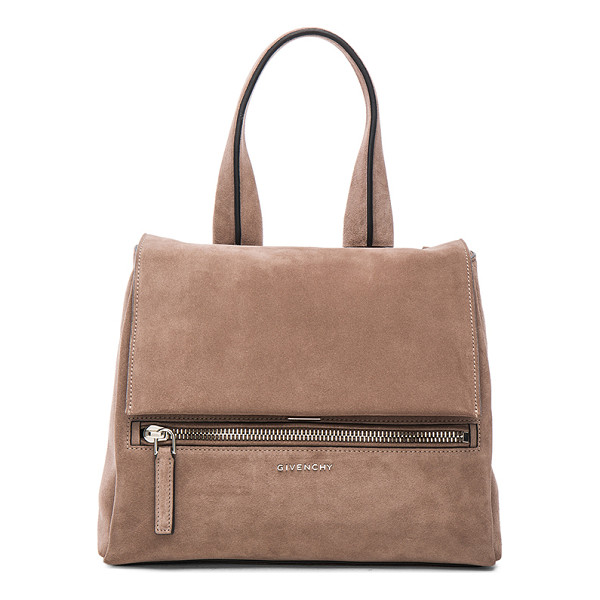 GIVENCHY Small suede pandora pure flap bag - Calfskin suede with canvas lining and silver-tone hardware....