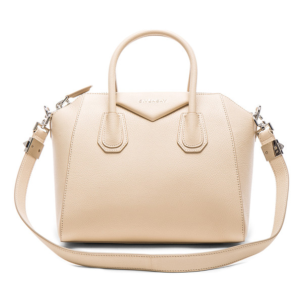GIVENCHY Small Sugar Antigona - Goatskin leather with canvas lining and silver-tone...