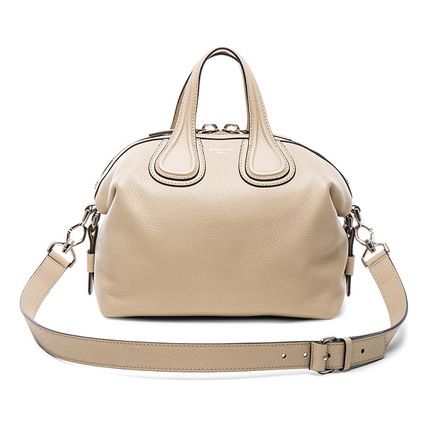 GIVENCHY Small waxy leather nightingale - Calfskin leather with canvas lining and silver-tone...