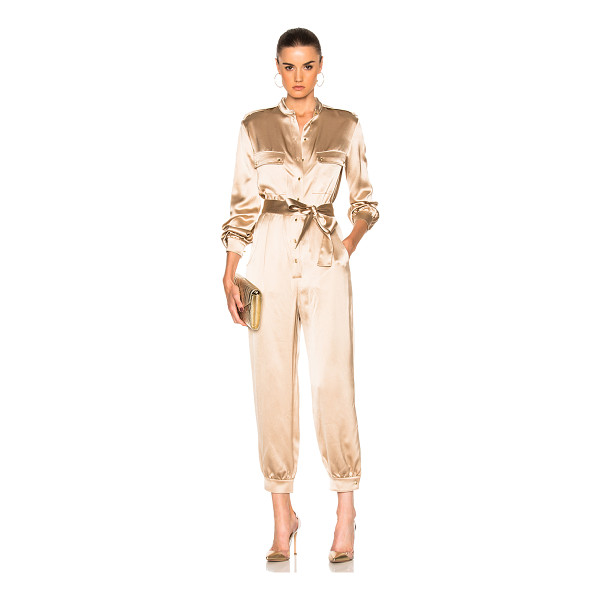 HANEY Taryn Jumpsuit - 100% silk.  Made in China.  Dry clean only.  Button front...