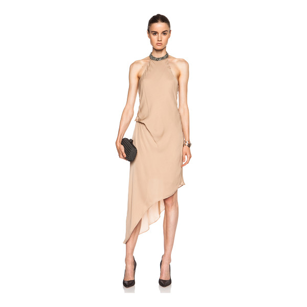 HAUTE HIPPIE Embellished high neck asymmetric silk dress - Self: 100% silk - Lining: 100% poly.  Made in China.  Fully...