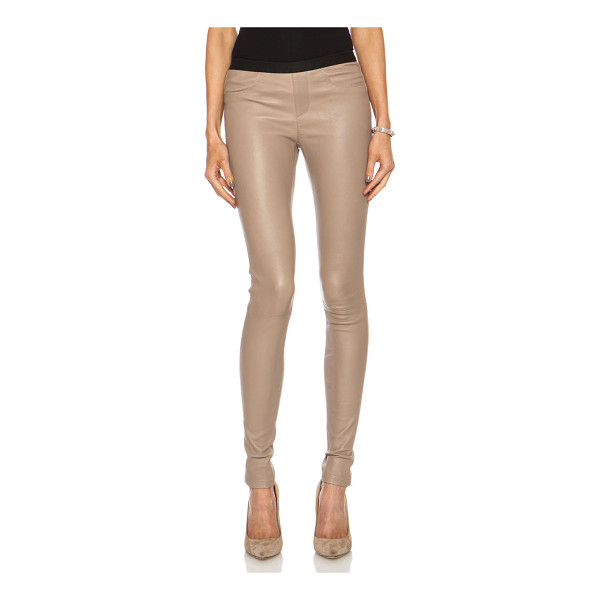 HELMUT LANG Leather legging - 100% lambskin leather.  Made in China.  Elastic waist. ...