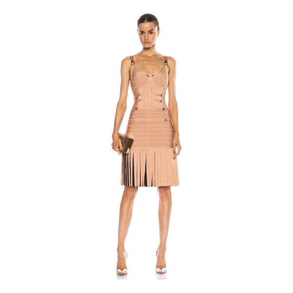 HERVE LEGER Milena drop waist rayon-blend dress - 91% rayon 8% nylon 1% spandex.  Made in China.  Unlined. ...