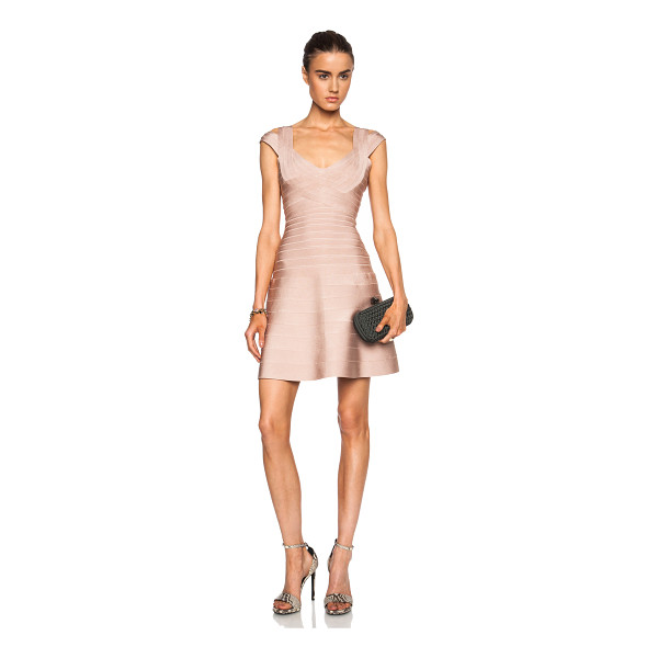HERVE LEGER Valerie viscose-blend dress - 91% rayon 8% nylon 1% spandex.  Made in China.  Unlined. ...