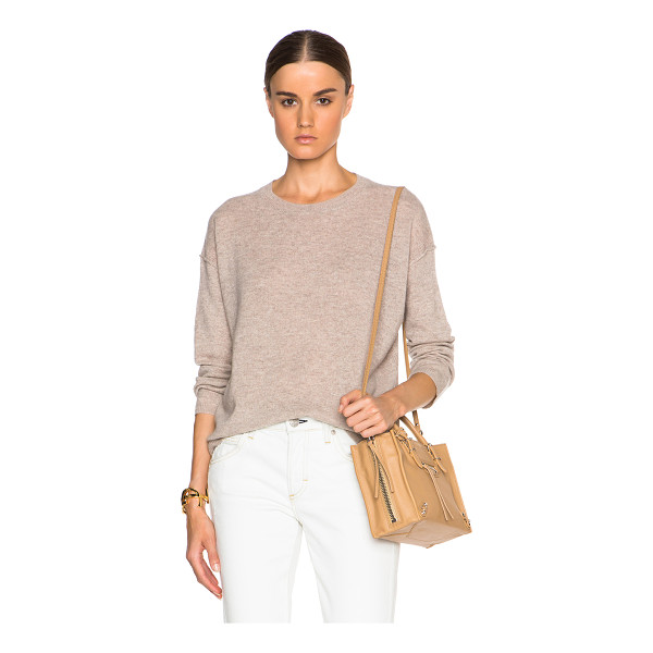 INHABIT Cashmere crew sweater - 100% cashmere.  Made in China.  Knit fabric.  Rib knit trim.