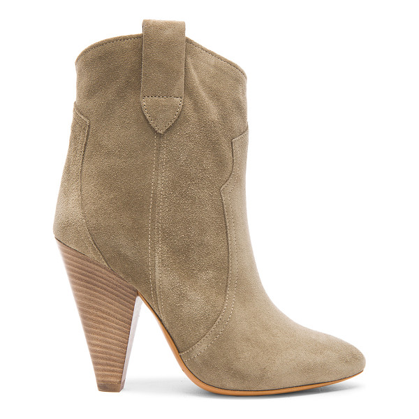 ISABEL MARANT ETOILE Roxann Calfskin Velvet Leather Booties - Calfskin velvet leather upper with leather sole.  Made in
