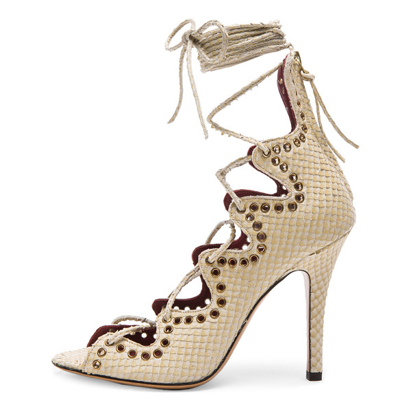 ISABEL MARANT Lelie snaky ghillies calfskin leather sandals - Snakeskin embossed calfskin leather upper with leather...