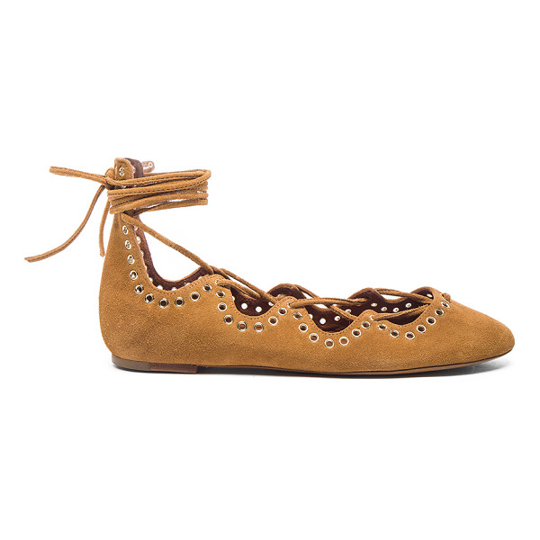 ISABEL MARANT Leo Eyelet Velvet Flats - Calfskin velvet leather upper with leather sole.  Made in...