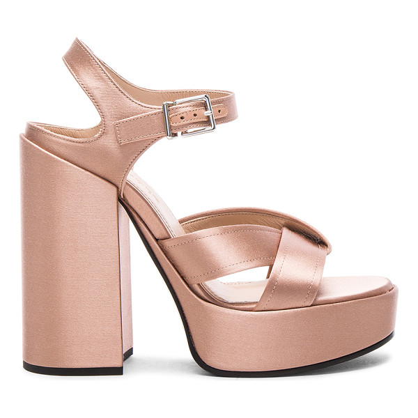 JIL SANDER Satin Heels - Satin upper wit leather sole. Made in Italy. Approx 40mm/...