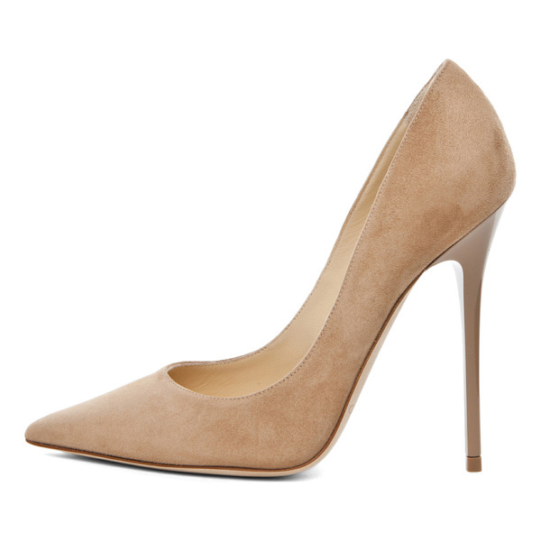 JIMMY CHOO Anouk Suede Pumps - Suede upper and leather sole.  Made in Italy.  Approx