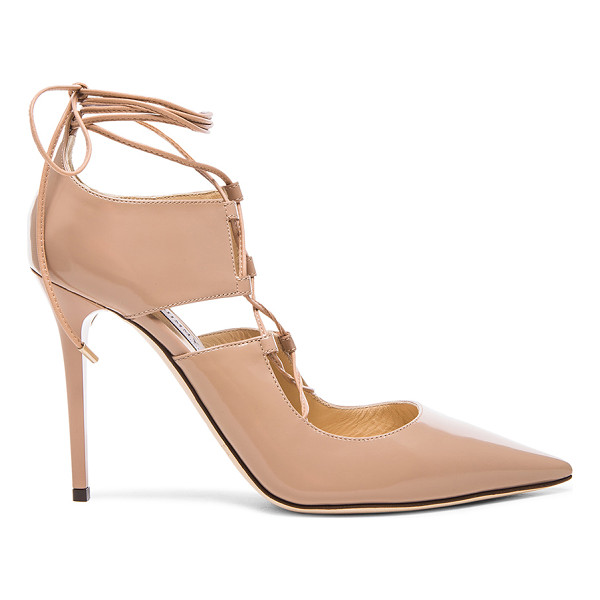 JIMMY CHOO Hoops leather heels - Leather upper and sole.  Made in Italy.  Approx 100mm/ 4...