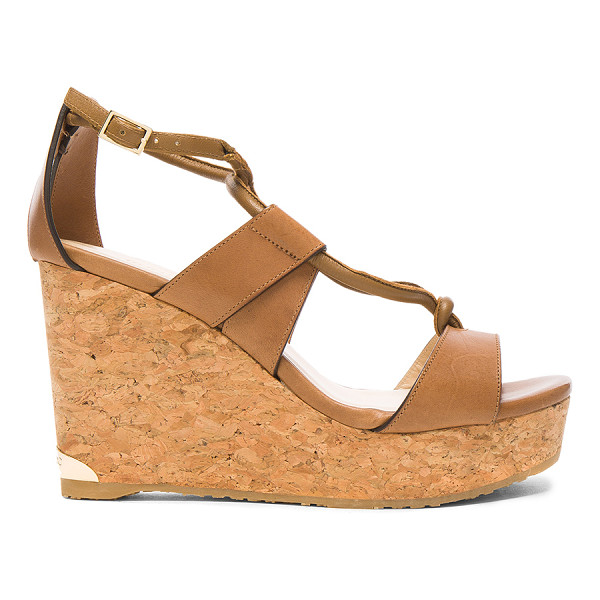JIMMY CHOO Leather Nelson Wedges - Leather upper with rubber sole.  Made in Spain.  Approx