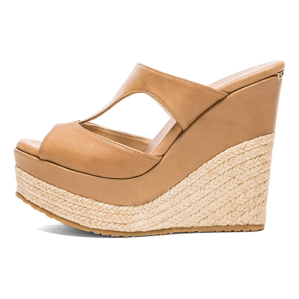 JIMMY CHOO Pledge leather wedges - Leather upper with rubber sole.  Made in Spain.  Approx...