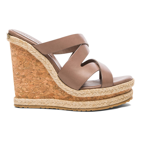 JIMMY CHOO Prisma leather wedges - Calfskin leather upper with rubber sole.  Made in Spain. ...