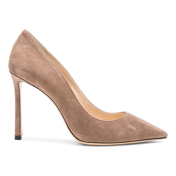 JIMMY CHOO Suede Romy Heels - Suede upper with leather sole.  Made in Italy.  Approx