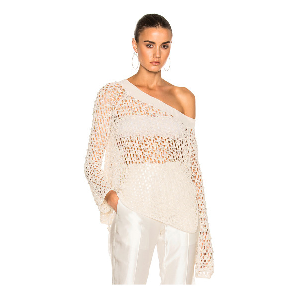 JONATHAN SIMKHAI Cage Pearl Off Shoulder Top - 50% cotton 50% nylon. Made in China. Dry clean only. Knit...