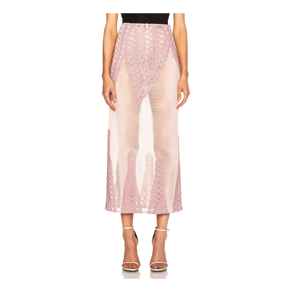JONATHAN SIMKHAI Tread lace inset angel skirt - Self: 100% poly - Contrast Fabric: 100% cotton.  Made in...