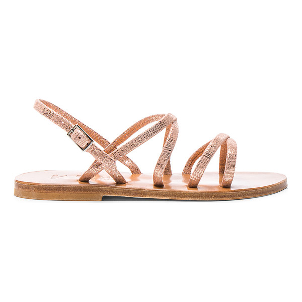 K. JACQUES Metallic Suede Batura Sandals - Metallic coated suede upper with leather sole. Made in...
