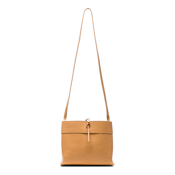 KARA Tie Crossbody - Unlined nude Italian vegetable tanned leather.  Made in