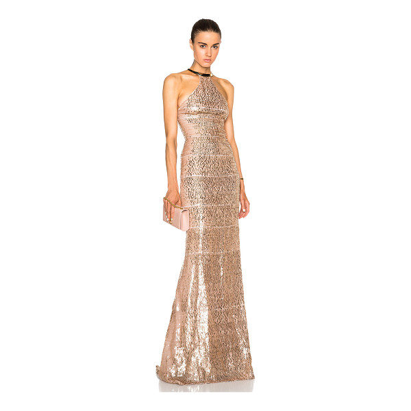 KAUFMAN FRANCO Burnt degrade gown - Silk blend.  Made in USA.  Fully lined.  Sequin embellished...