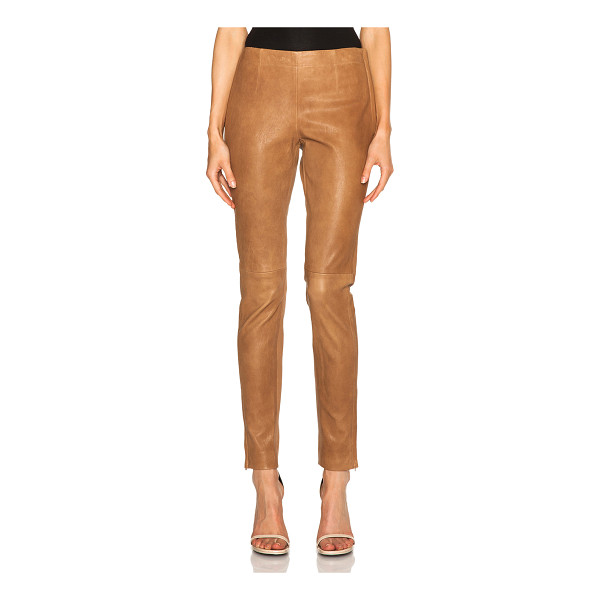 KAUFMAN FRANCO Stretch leather pants - Self: 100% lambskin leather - Contrast Fabric: 97% cotton...