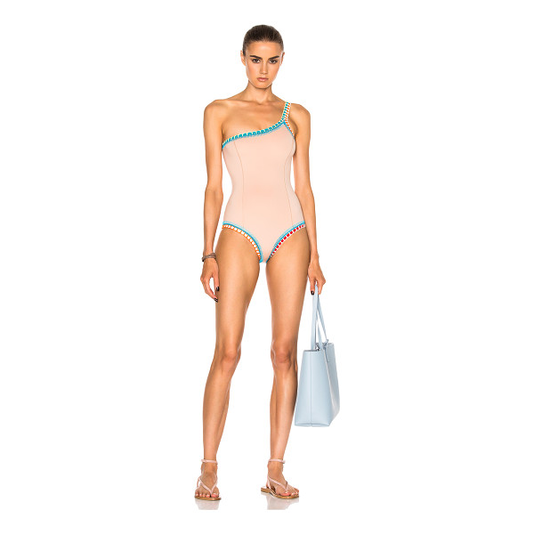 KIINI Luna One Shoulder Swimsuit - Self: 75% poly 14% nylon 11% spandex - Trim: 100% cotton.