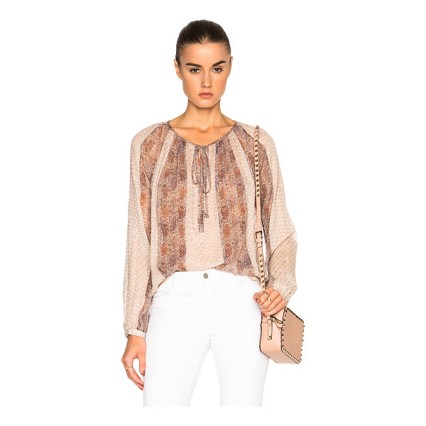 L'AGENCE Pearl Top - 85% silk 15% nylon.  Made in China.  Sheer textured fabric....