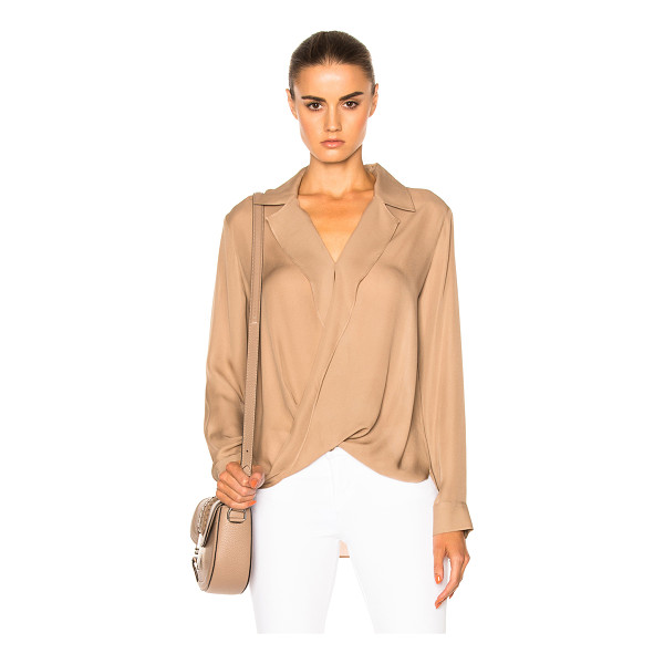 L'AGENCE Rita Drape Front Blouse - 100% silk.  Made in China.  Dry clean only.  Surplice...