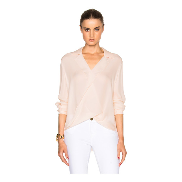 L'AGENCE Rita top - 100% silk.  Made in China.  Draped fabric overlay on front.