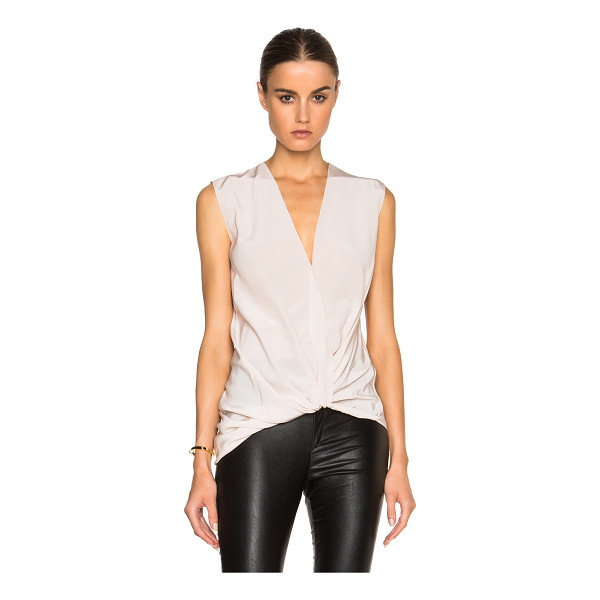 LANVIN Cross drape v neck silk blouse - 100% silk.  Made in Slovakia.  Draped and knotted fabric...