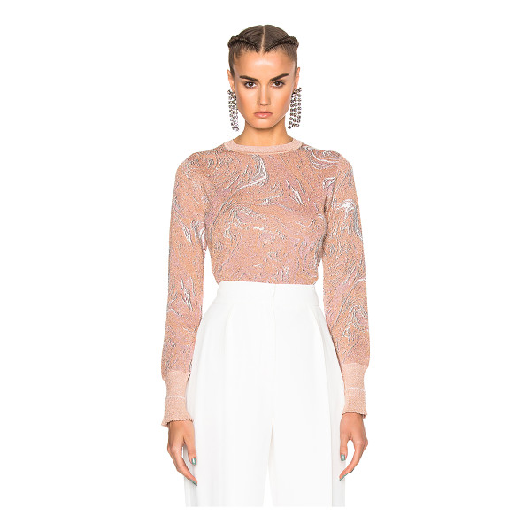LANVIN Print Metallic Knit Top - 69% viscose 28% poly 2% polyamide 1% elastan. Made in...