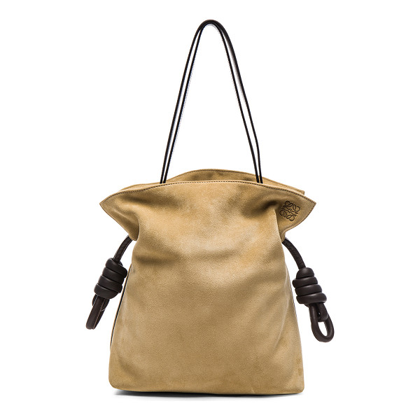 LOEWE Flamenco Knot Suede Bag - Calfskin leather with twill fabric lining and gold-tone...