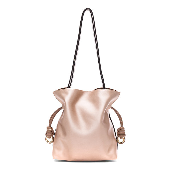 LOEWE Flamenco Satin Knot Small Bag - Satin fabric with leather lining and gold-tone hardware.