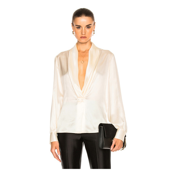 LOEWE V Neck Satin Top - 100% silk.  Made in Italy.  Dry clean only.  Draped front. ...
