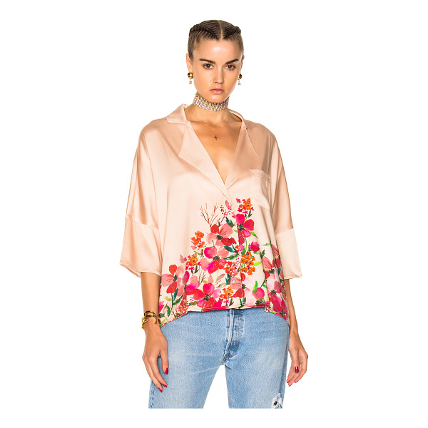 LPA Top 193 - 93% silk 7% spandex.  Made in China.  Hand wash.  Button...