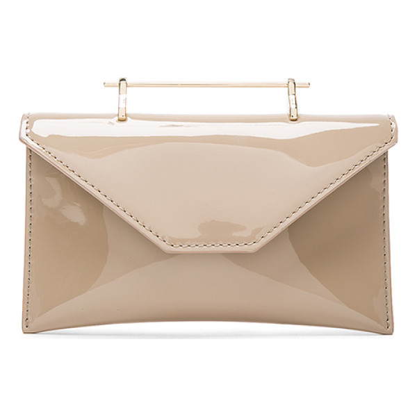 M2MALLETIER Anabelle Bag - Patent calfskin leather with leather lining and pale...