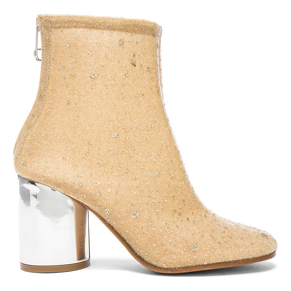 MAISON MARGIELA Heeled Booties - Glitter coated mesh upper with leather sole.  Made in...