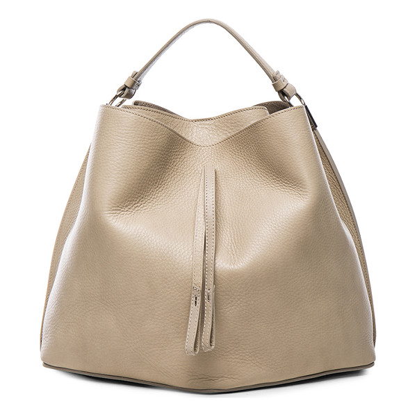 MAISON MARGIELA Leather satchel - Grained calfskin leather with raw lining and silver-tone...