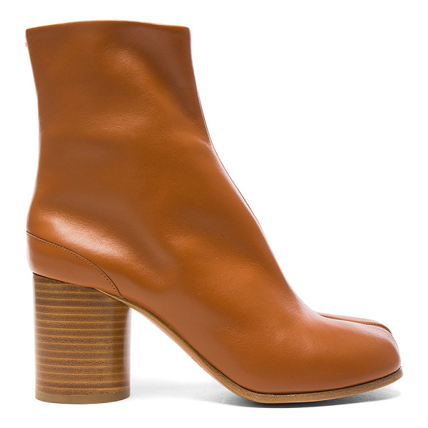 MAISON MARGIELA Leather Split Toe Booties - Leather upper and sole.  Made in Italy.  Shaft measures