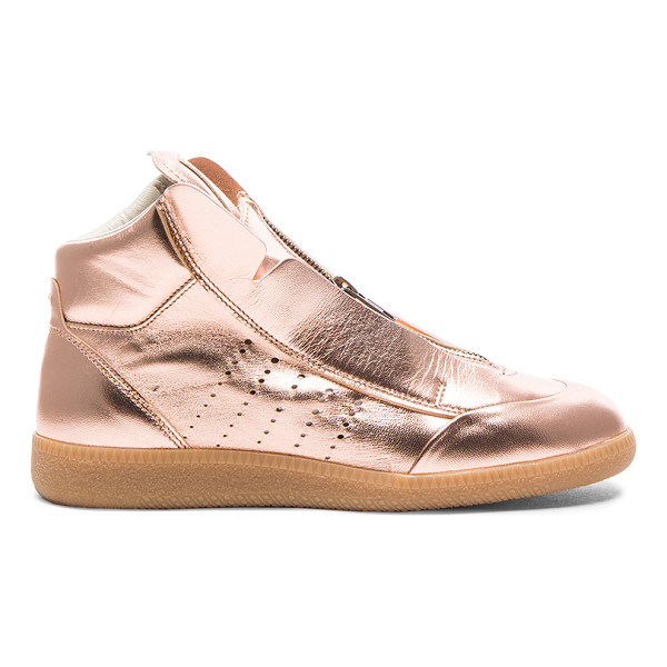 MAISON MARGIELA Laminated leather circuit sneakers - Metallic leather upper with rubber sole.  Made in Italy. ...